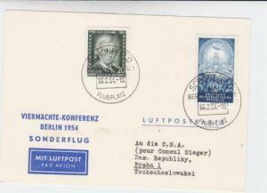 viermachte konferenz berlin 1954 air mail   stamps card  r19694