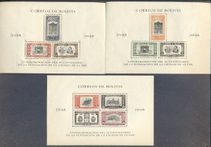 BOLIVIA: 1948 Three Mint Perforated Sheetlets; La Paz Founding Commemoration
