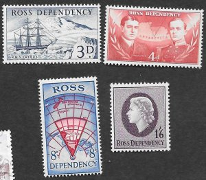 New Zealand-Ross Dependency Scott #L1-4 Ships, maps, QEII (1940) MNH