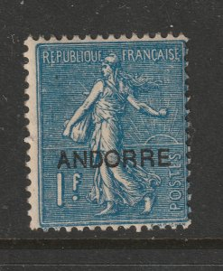 Andorra a MH 1F France overprinted