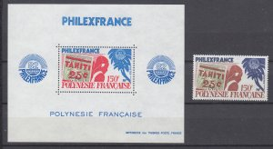 Z4076, 1982 french polynesia set of 1 + s/s mnh #381-381a stamps