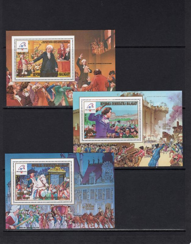 Madagascar 1989 French Revolution Bicentenary 5 Souvenir Sheets Perforated MNH