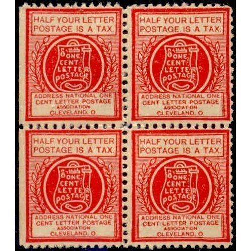 US - National One Cent Letter Postage Association Stamp - Type VIb Block