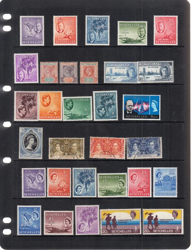 SEYCHELLES STOCKPAGE VICTORIA TO EARLY QE 2ND VALUES MINT/USED