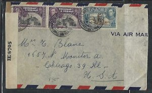 TRINIDAD & TOBAGO COVER (P3009B)1944 KGVI  12CX2+6C CENSOR A/M TO USA