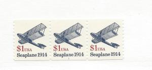 United States, 2468, $1 Seaplane VF Strip of 3 with Plate # 1, MNH