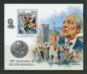ANGOLA 2019 100th BIRTH OF NELSON MANDELA SOUVENIR SHEET MINT NEVER HINGED