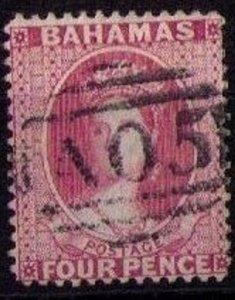 Scott 18b Bahamas USED Famous A05 Cancellation 1863 Queen Victoria VF Cat.$50