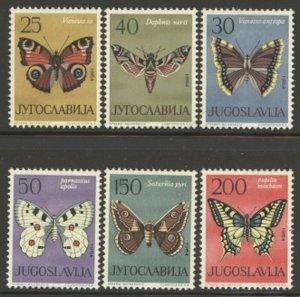 Yugoslavia 1964 Butterflies set Sc# 724-29 mint
