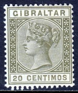 GIBRALTAR — SCOTT 31 (SG 25) — 1896 QV 20c OLIVE GREEN — MH — SCV $15.00