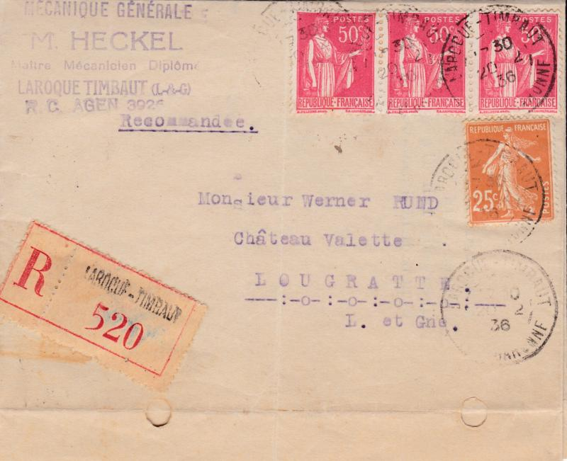France 1936 Registered Commercial Folded Letter Sheet  VF