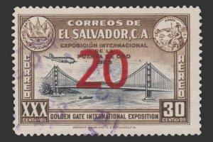 EL SALVADOR  STAMP 1943 SCOTT # C87. USED.