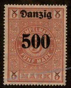 Danzig Germany Preussen Prussia 500 Mark Stempelmarke Document Revenue Sta 90872