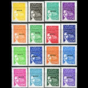 MAYOTTE 2002 - Scott# 159-74 Marianne Opt. Set of 16 NH