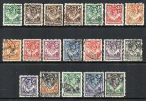 Northern Rhodesia: 1938 KGVI vals (19) ex SG 25-44 used