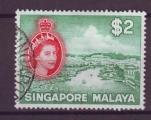 J21368 Jlstamps 1955 singapore used #41 queen