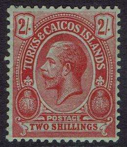 TURKS & CAICOS 1913 KGV CACTUS 2/- WMK MULTI CROWN CA