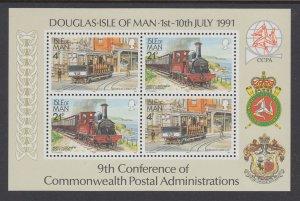 Isle of Man 458a Trains Souvenir Sheet MNH VF