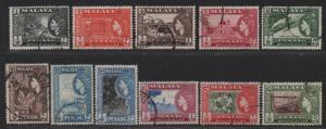 $Malaya-Penang Sc#45-55 Used/VF, complete set, Cv. $41.95