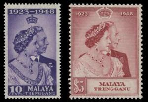 Trengganu 1948 KGVI Royal Silver Wedding Pair of Stamps MNH SG 61 & SG 62