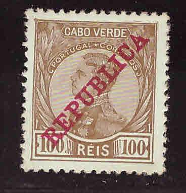 Cape Verde Scott 107 MH* King Manuel Republica overprint