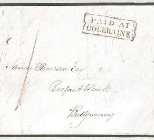 BD210 GB Ireland UPP Postmark Superb *PAID AT COLERAINE* Derry 1842 Cover BANK