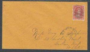 New Brunswick Sc 9 on 1867 orange cover to Boston, VF