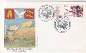 France ww2 Memorial Caen Normandie Double Cancel Stamps Cover ref R 19205