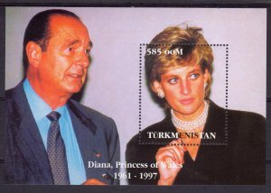 Turkmenistan 1997 PRINCESS DIANA & FRENCH PRESIDENT CHIRAC s/s Perforated MintNH