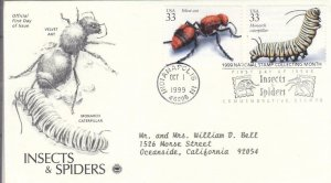 1999, Insects & Spiders-Velvet Ant, Monarch Caterpillar, PCS, FDC (E7800)