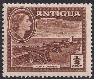 Antigua 1953 – 62 QE2 1/2ct Brown Umm SG 120a ( L1490 )