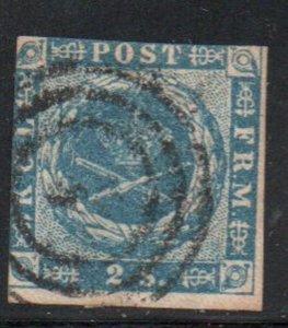 Denmark Sc 3 1854 2 s blue Royal Emblems stamp used