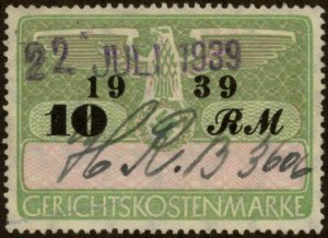 Germany 3rd Reich 10RM Court Fee Stamp 1939 Used 96228