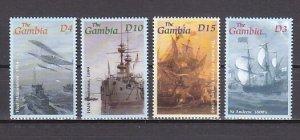 Gambia, Scott cat. 2536-2539. Military Sailing Ships. ^
