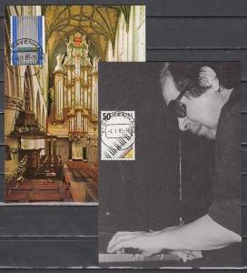 Netherlands, Scott cat. 669-670. Europa-Music Year on 2 Maximum Cards. ^