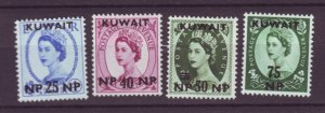 J21980  Jlstamps 1957-8 kuwait hv,s of set mh #136-9 queen ovpt,s