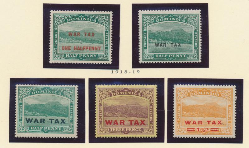 Dominica Stamp Set Scott #MR1 To MR5, War Tax Complete Issues, Mint Hinged - ...
