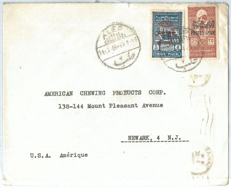 71152 - SYRIA - POSTAL HISTORY -  COVER  to  the United States 1946 - REVENUE