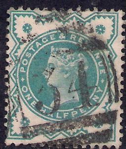 GB 1900 QV 1/2d Blue Green Colour Change SG 213 ( J1201 )