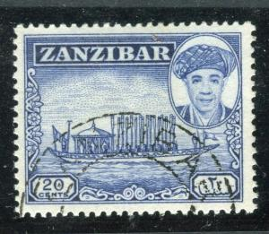 ZANZIBAR;  1961 early Sultan Khalifa issue fine used 20c. value