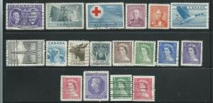 Canada #315-332  (U) CV. $6.20