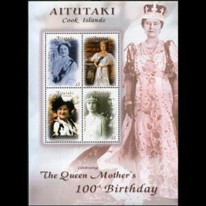 AITUTAKI 2000 - Scott# 529 S/S Queen Mother NH
