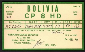 QSL QSO RADIO CARD CP 8 HD,Hernan Suarez Serrate,Bolivia,South America (Q2152)