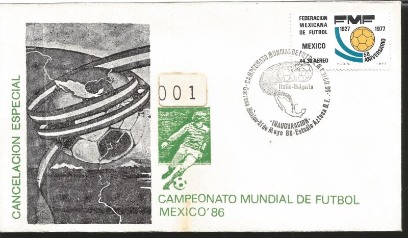 J) 1977 MEXICO, 50TH ANNIVERSARY OF THE MEXICAN FOOTBALL FEDERATION, MAP AND BAL