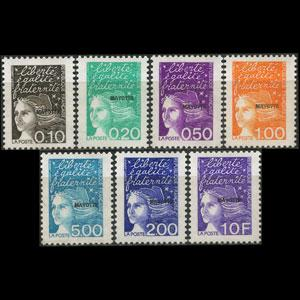 MAYOTTE 1999 - Scott# 112-8 Marianne Opt. Set of 7 NH