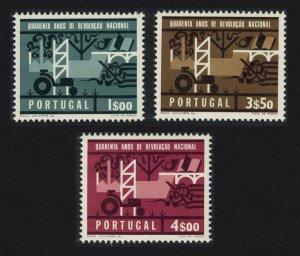 Portugal Tractor Bridge 40th Anniversary of National Revolution 3v SG#1289-1291
