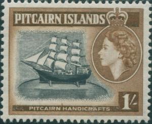 Pitcairn Islands 1957 SG26 1/- Handicraft bounty MLH