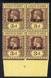 British Virgin Islands 1916-19 KG5 3d purple on yellow op...