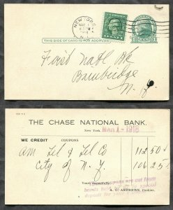 3997 - USA 1918 Uprated Postal Card. PERFIN  CNB  Chase National Bank New York