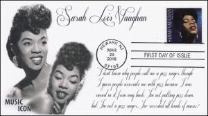 2016, Sarah Vaughan, Music Icon, BW Pictorial, FDC,  16-074